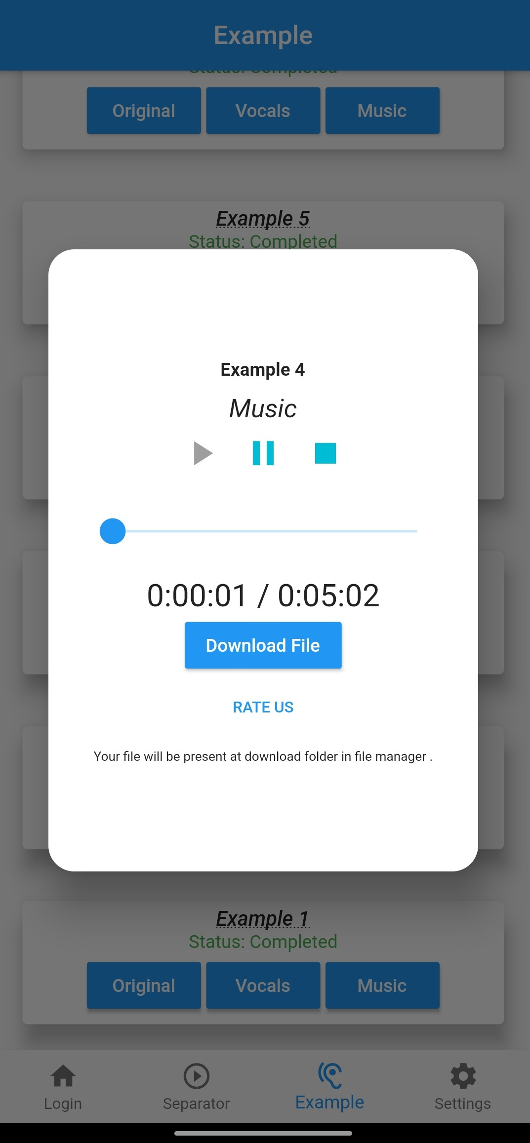 Vocal Remover and music separator Application and website screens 1